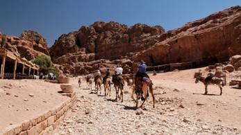 Kamelkarawane in Jordanien