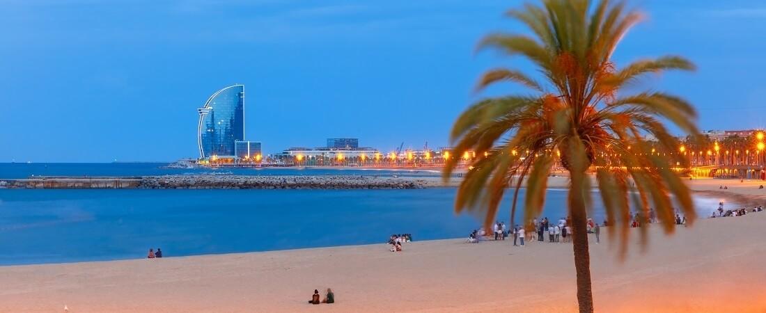 Blick aufs Meer am Barceloneta Beach