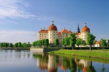 Blick auf die Moritzburg in Dresden, Deutschland