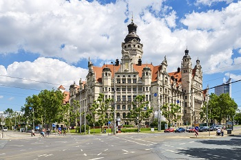 Blick auf das alte Rathaus in Leipzig, Deutschland