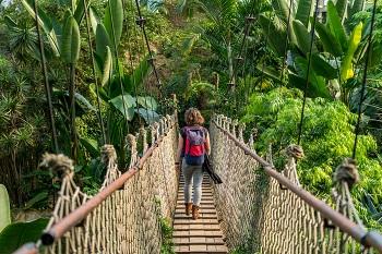Frau auf einer Hängebrücke im Gondwana Land im leipziger Zoo, Deutschland