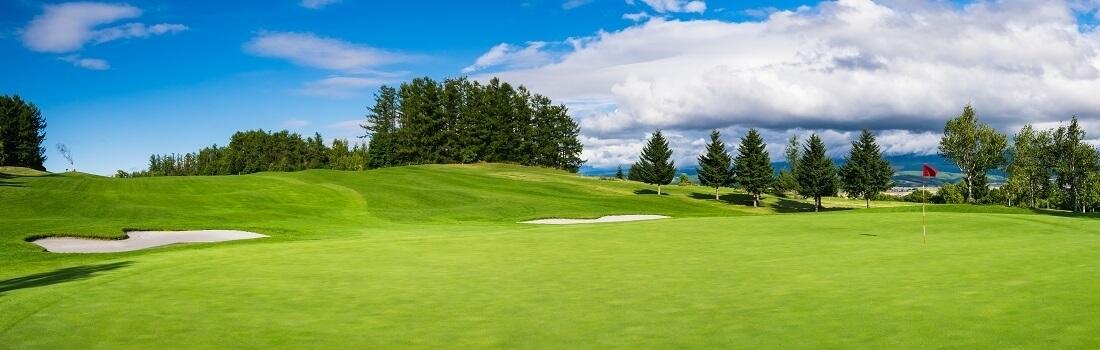 Panorama von einem Golfplatz, Hügel, Bäume, blauer Himmel