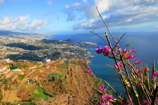 Blick vom Berg auf Madeira