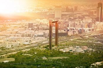 Luftaufnahme des Dubai Frame in Dubai, VAE