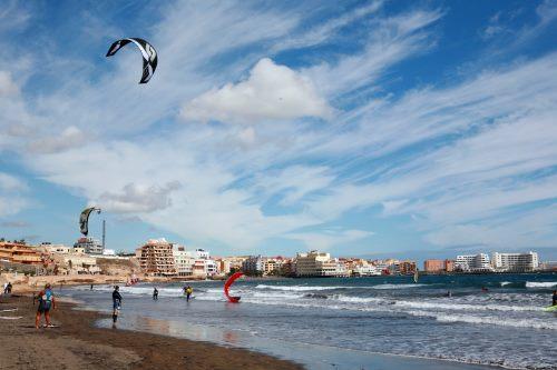 Kanaren, Terniffa, Windsurfer in El Médano