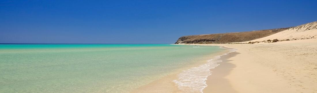 Blick auf den Strand Sota Vento, Fuerteventura, Kanaren, Spanien