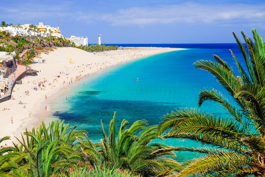 Blick auf den Strand Playa de Morro Jable, Fuerteventura, Kanaren, Spanien