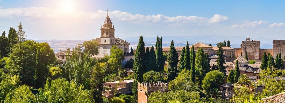Alhambra in der Sonne, Granada, Andalusien, Spanien