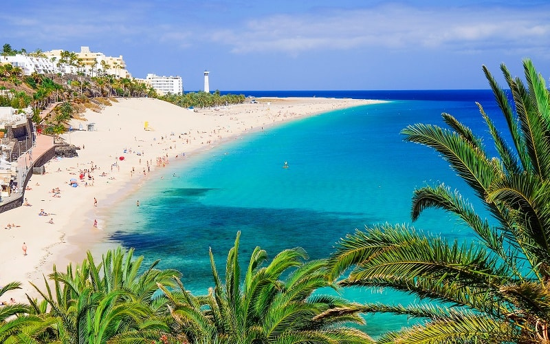 Blick auf den Playa de Morro Jable, Fuerteventura, Spanien