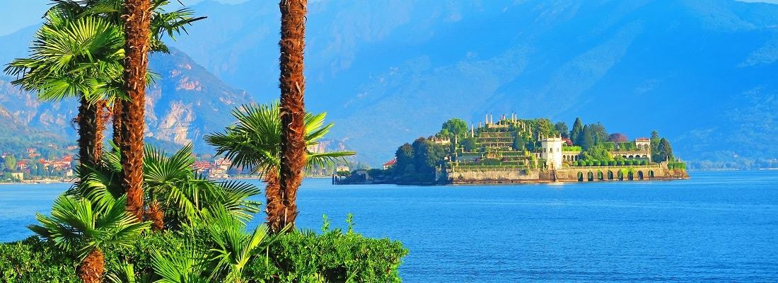 Blick auf die Isola Bella, Lago Maggiore, Italien