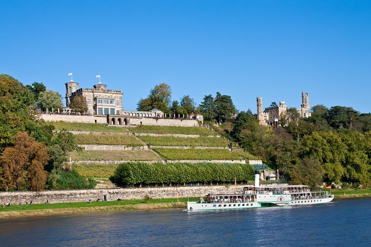 Elbhang in Dresden mit Schloss